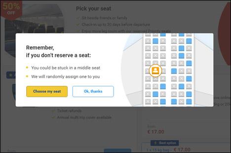 Вибір місць в літаку на сайті Ryanair